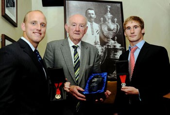 Goldthorpe Medal winner Michael Dobson and Rookie of the Year Sam Tomkins with Ray French