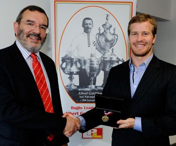 2012 Goldthorpe Medal Winner Scott Dureau with League Express editor Martyn Sadler