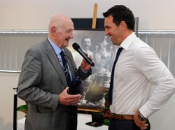 Paul Sculthorpe shares a joke with Ray French