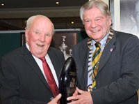 Harry Jepson receives the Lifetime Achievement award from David Oxley