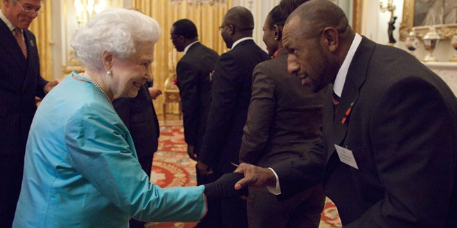 PNG star Menzie Yere meets The Queen