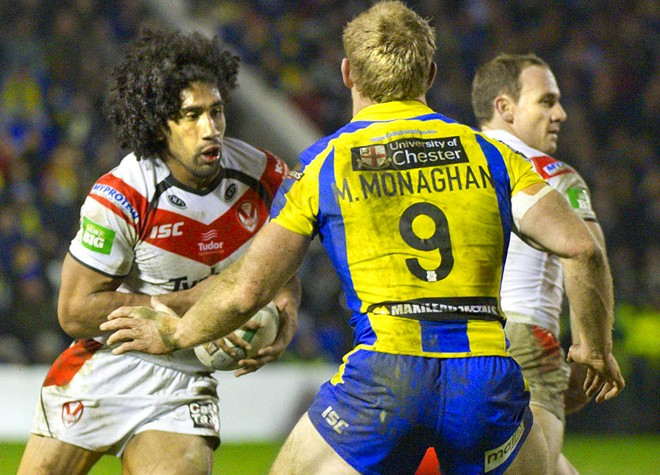 Iosia Soliola carrying the ball for St Helens against Warrington in August 2013. ©RLPhotos