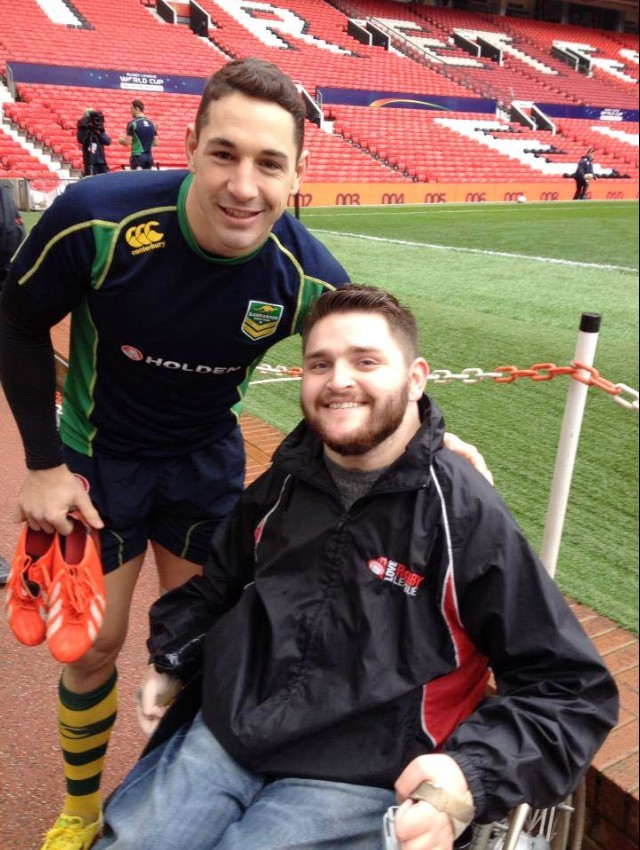Journalist Gavin Wilson pictured with Australian full-back Billy Slater.