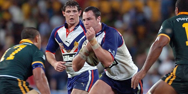 Adrian Morley runs the ball in for Great Britain. ©RLPhotos