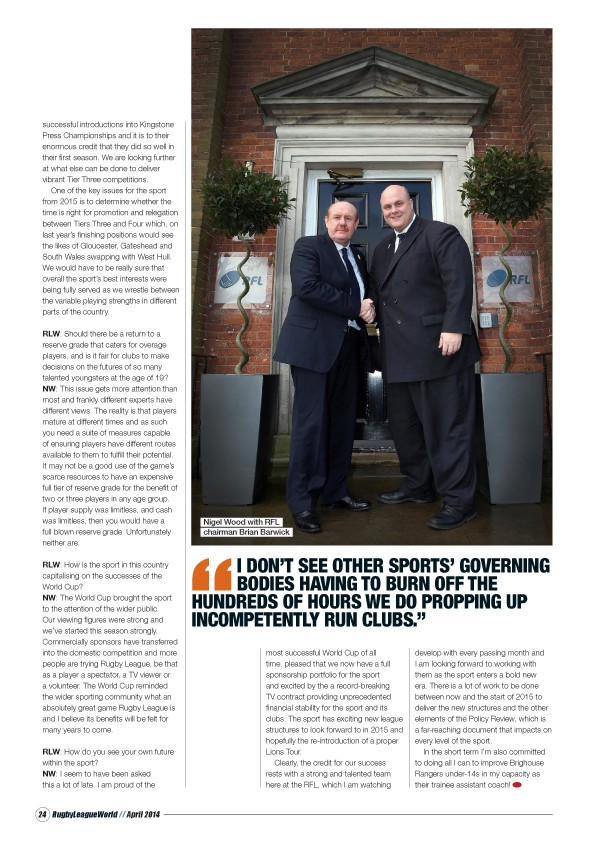 This interview first appeared in Rugby League World magazine's April issue. ©LPL