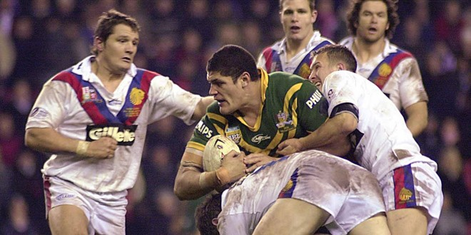 Willie Mason is halted by the Great Britain defence in 2004. ©RLPhotos
